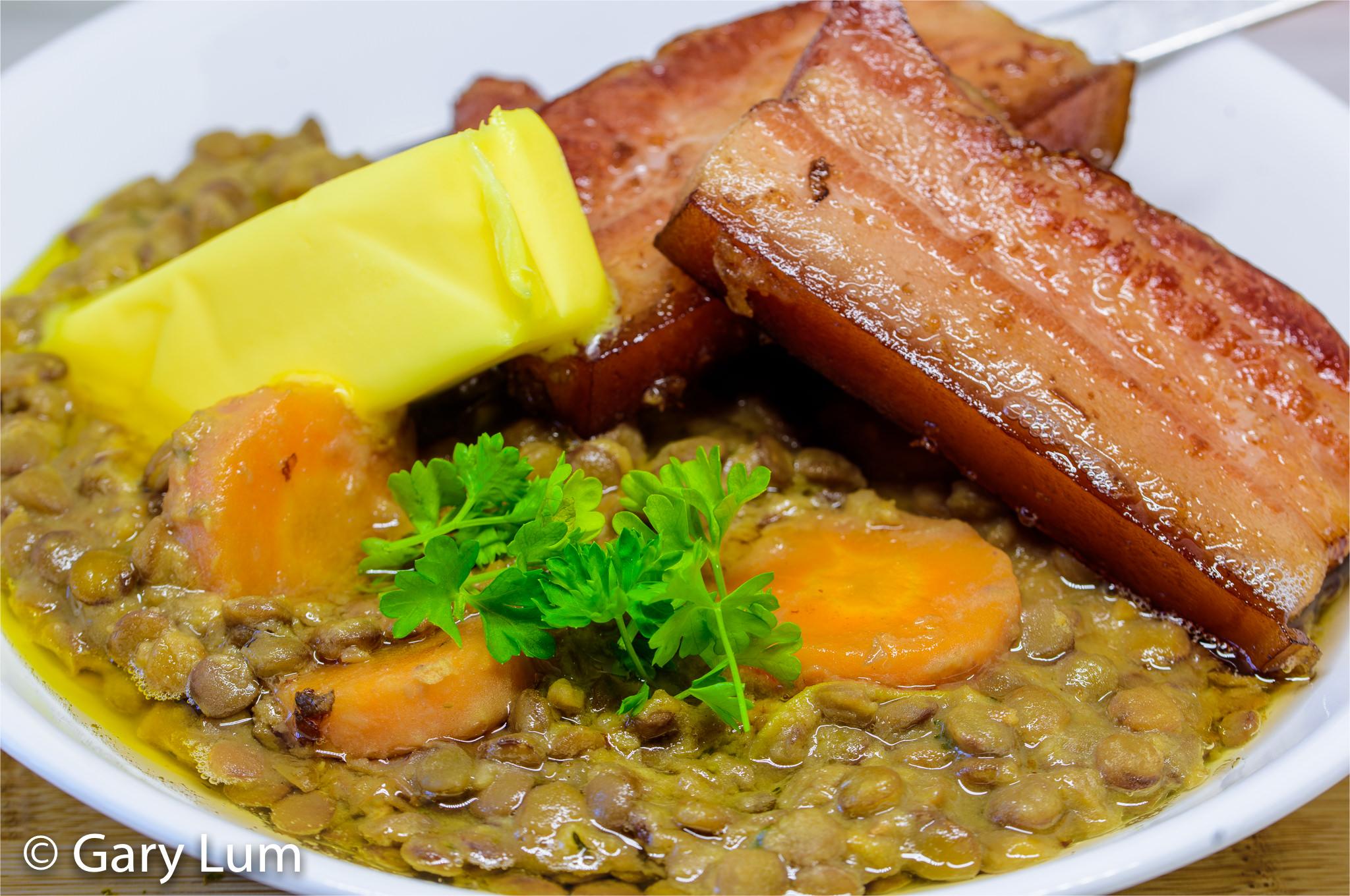 Lentils à la Dijonnaise (mustard and speck lentils)