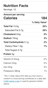 Nutrition info on Chocolate Peanut Butter Fat bombs