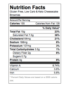 low carb brownies nutritional info