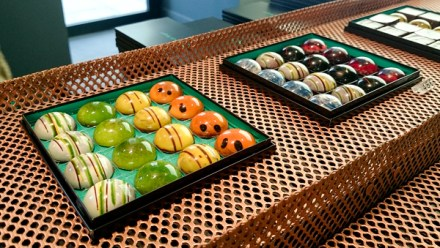 Intricately decorated chocolates, look at that shine on them!
