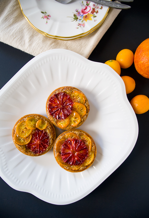 Blood Orange Kumquat Hazelnut Tarts