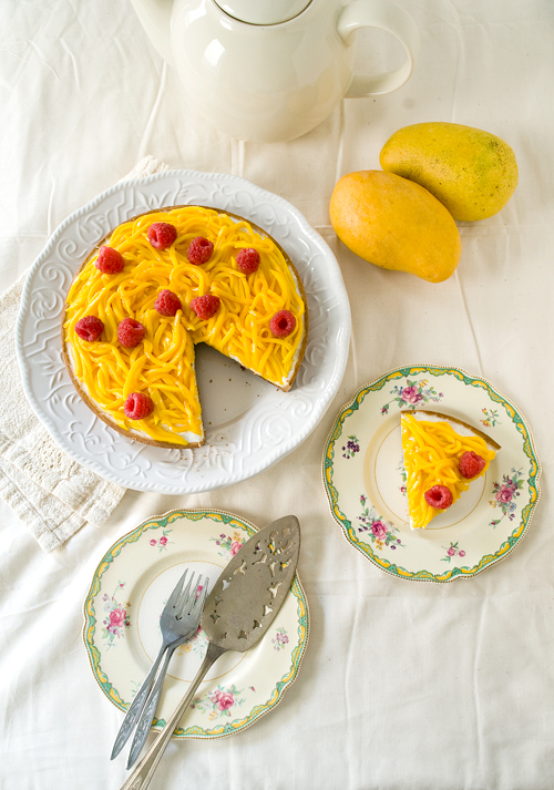 Mango Raspberry Yogurt Tart