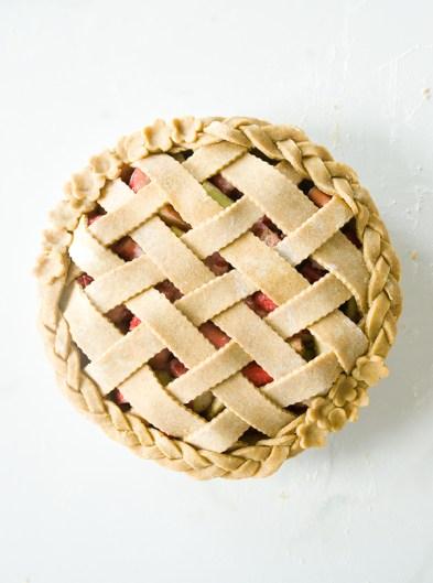 Toasted Rye Raspberry Rhubarb Pie