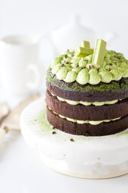 Chocolate Cake with Matcha Ganache