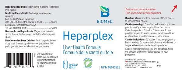 Yum Naturals Emporium - Bringing the Wisdom of Nature to Life - Biomed Heparplex Label