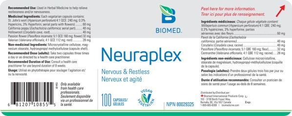 Yum Naturals Emporium - Bringing the Wisdom of Nature to Life - Biomed Neuraplex Label
