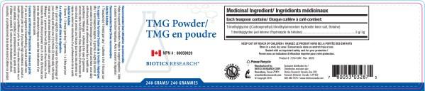 YumNaturals Emporium - Bringing the Wisdom of Nature to Life - Biotics Research TMG Powder Label