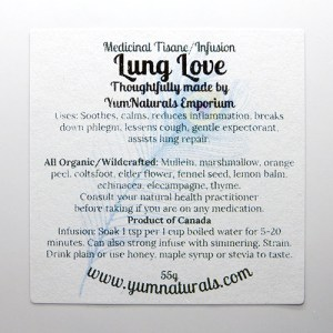 Yum Naturals Emporium - Bringing the Wisdom of Nature to Life - Lung Love Herbal Medicinal Tisane