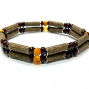 YumNaturals Emporium and Apothecary- Bringing the Wisdom of Mother Nature to Life - Amber & Hazel Wood Double Bracelet