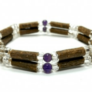 YumNaturals Emporium and Apothecary- Bringing the Wisdom of Mother Nature to Life - Amethyst & Hazel Wood Double Bracelet