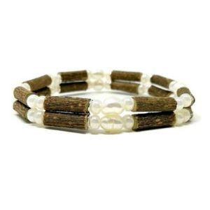 YumNaturals Emporium - Bringing the Wisdom of Mother Nature to Life - Freshwater Pearl Hazel Wood Double Bracelet_1