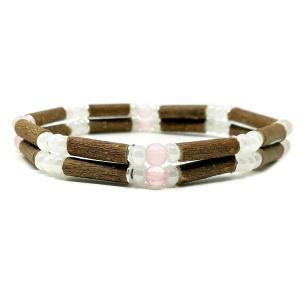 YumNaturals Emporium - Bringing the Wisdom of Mother Nature to Life - Rose Quartz Hazel Wood Double Bracelet_1