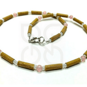 YumNaturals Emporium and Apothecary - Bringing the Wisdom of Mother Nature to Life - Rose Quartz Hazel Wood Necklace