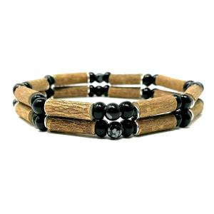 YumNaturals Emporium - Bringing the Wisdom of Mother Nature to Life - Snowflake Obsidian Hazel Wood Double Bracelet_1