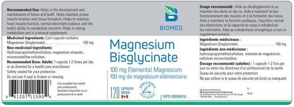 Yum Naturals Emporium - Bringing the Wisdom of Nature to Life - Biomed Magnesium Bisglycinate Label