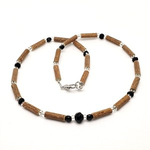 YumNaturals Emporium - Bringing the Wisdom of Mother Nature to Life - Hazelwood Black Clear Necklace Large Bead 1