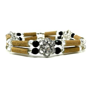 YumNaturals Emporium - Bringing the Wisdom of Mother Nature to Life - Hazelwood Black and Clear Double Bracelet Flower Bead 1