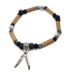 YumNaturals Emporium - Bringing the Wisdom of Mother Nature to Life - Hazelwood Lava Stone Diffuser Snowflake Obsidian Single Bracelet Feathers Bead 1