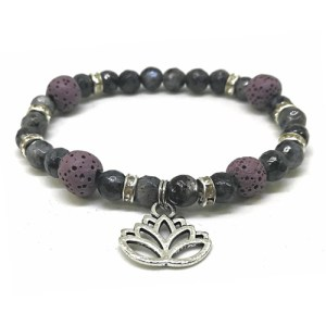 YumNaturals Emporium - Bringing the Wisdom of Mother Nature to Life - Hazelwood Lilac Stone Diffuser Labradorite Single Bracelet Lotus Flower 1
