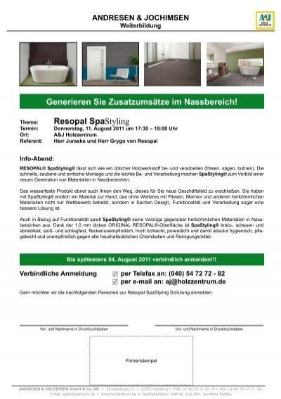 Resopal SpaStyling Generieren Sie - A&J Holzzentrum