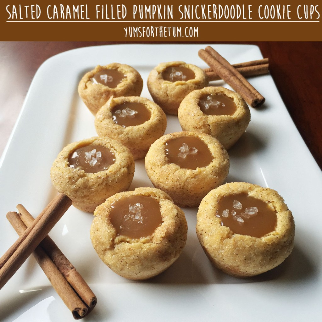 Salted Caramel-Filled Pumpkin Snickerdoodle Cookie Cups