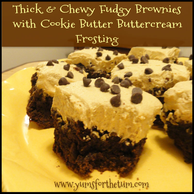 Thick & Chewy Fudgy Brownies with Cookie Butter Buttercream Frosting