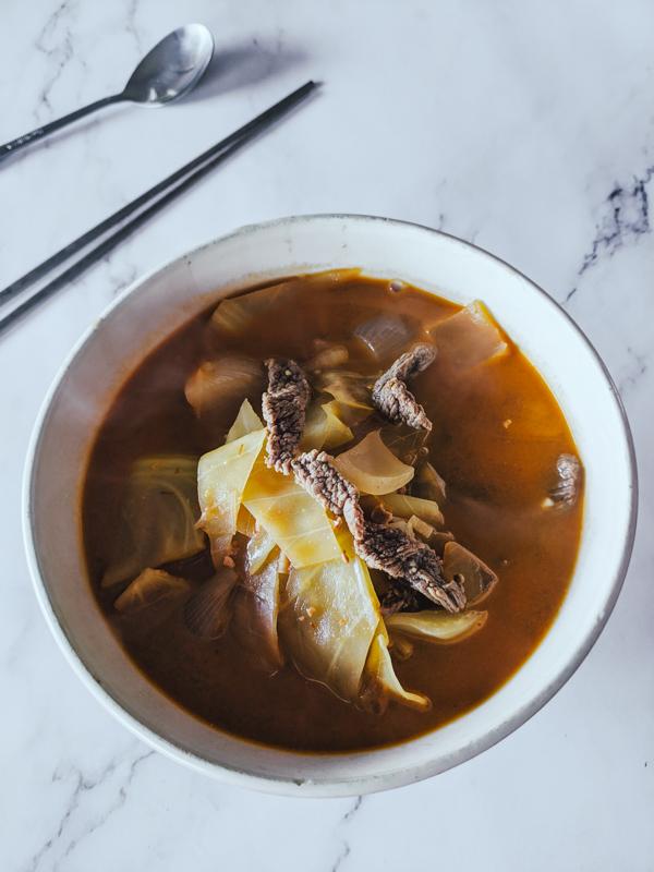 sogogi doenjang guk soupe de doenjang au boeuf