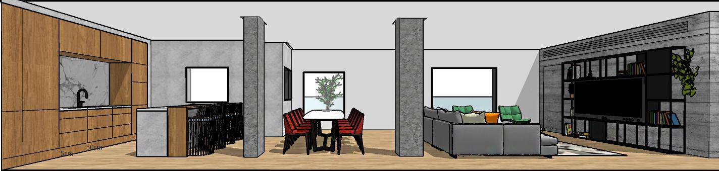 חתך של חלל מגורים הכולל סלון, פינת אוכל ומטבח