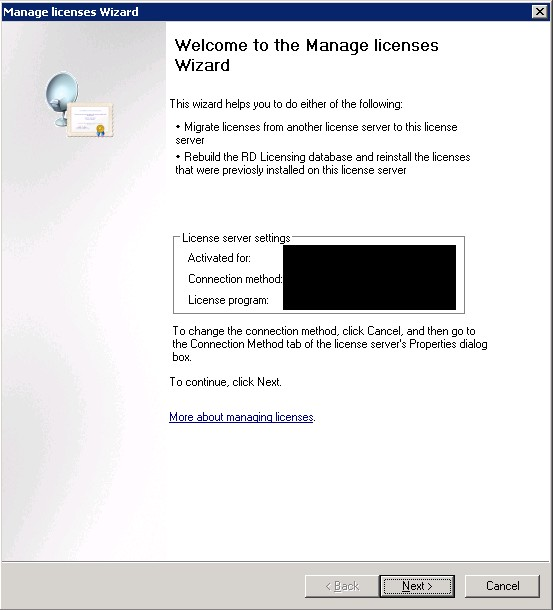 Migrating Terminal Server Licenses from Windows Server 2003 to Windows Server 2008 R2 using the Remote Desktop Licensing Manager (5/6)