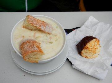Clam chowder & chocolate macaroon