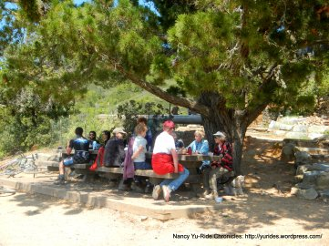 outdoor picnic area-hikers