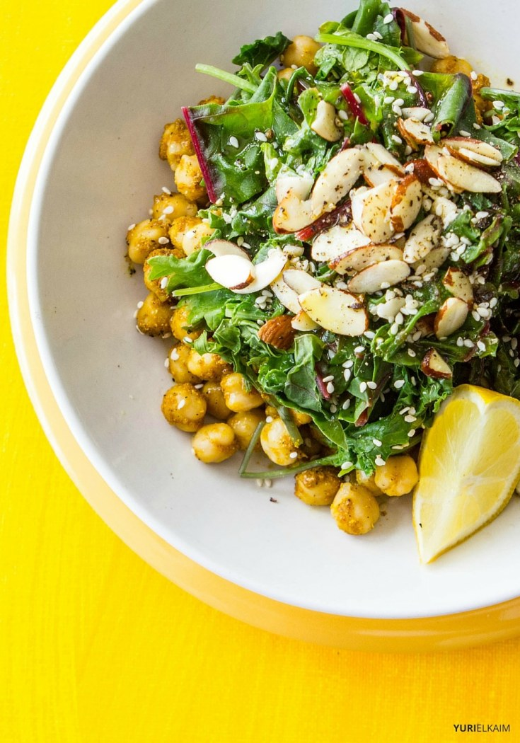 Kale and Curried Chickpea Salad Bowl