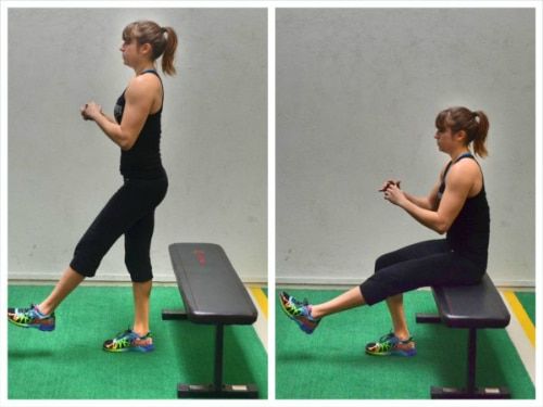 Exercises to Strengthen Knees - Single Leg Squat onto Bench