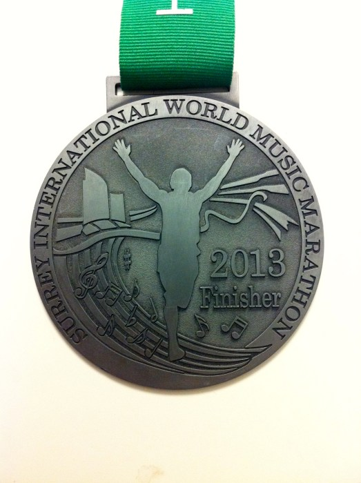Surrey International World Music Half Marathon 2013 Finisher's Medal