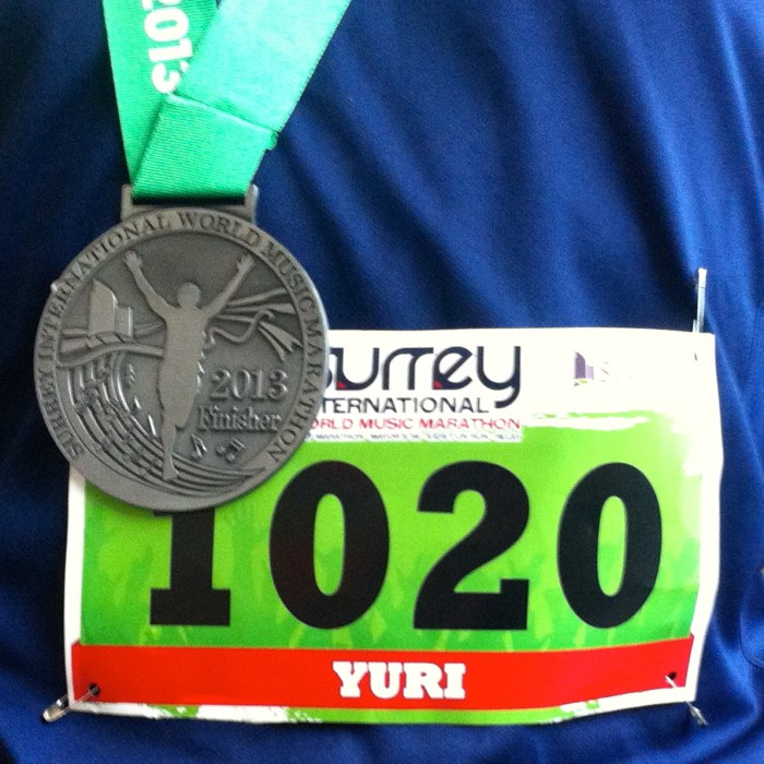 Surrey Marathon Finisher Medal and Bib