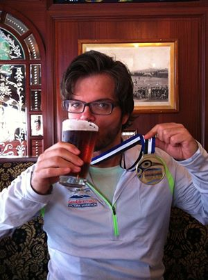 Yuri enjoying a post marathon beer.