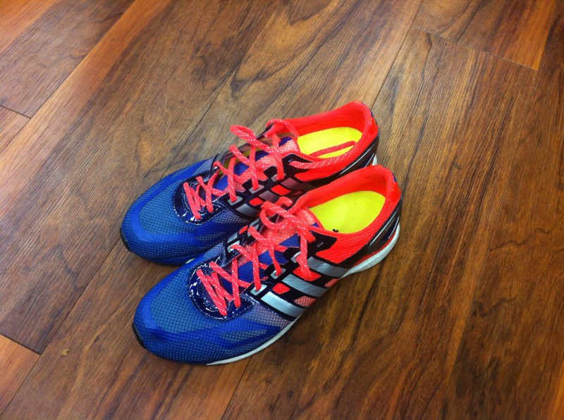 The pair of My first impressions of the adidias adiZero adios Boost shoes I tested