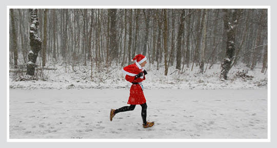Santa Running on Christmas Eve