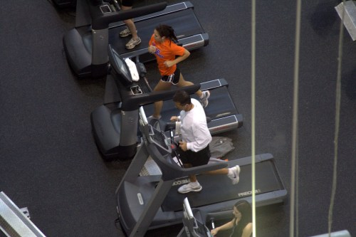 Treadmill running.
