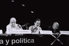 Yuri Martins Fontes / Brasil-2005 / Porto Alegre: Saramago, Galeano e o ministro Dulci cochilam em palestra do Fórum Social Mundial/ R. Grande do Sul
