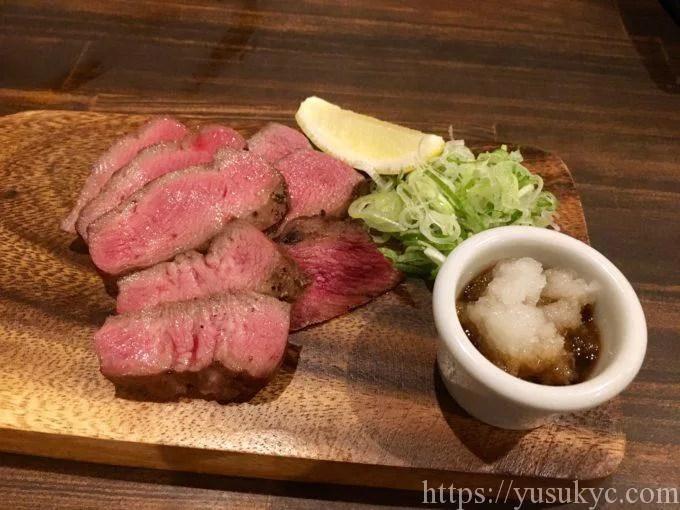 あっちっちの霜降り厚切り牛タンのステーキ