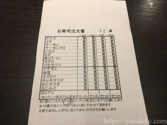 しゃぶしゃぶおかわりくんのお寿司注文票