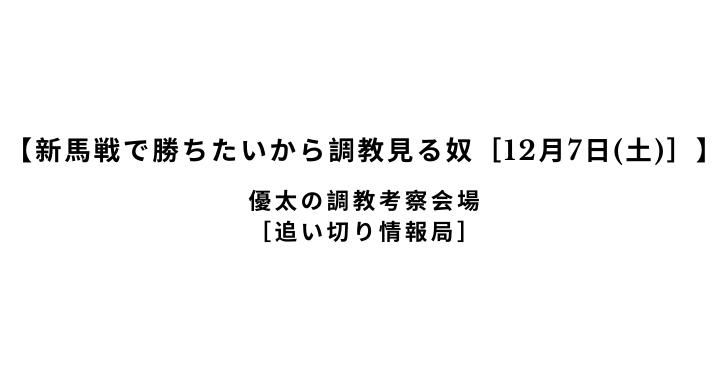 【新馬戦で勝ちたいから調教見る奴[12月7日(土)]】