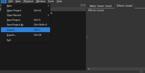メニューバーの「File」から「Import」を選択