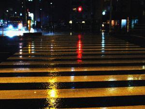 雨の赤信号