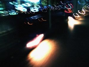 浜松町の歩道橋のライトをぐるぐる