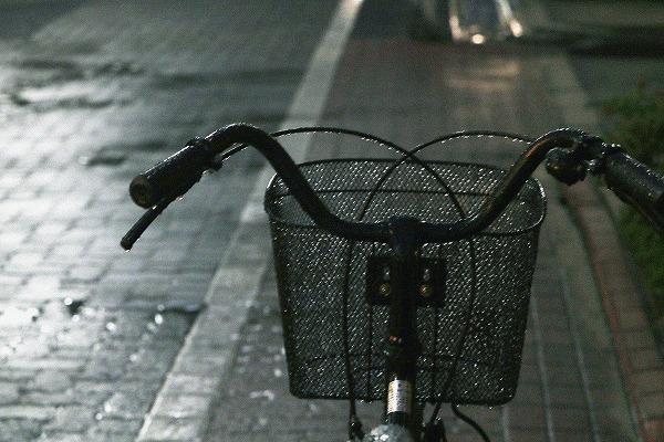 雨に濡れる自転車カゴ