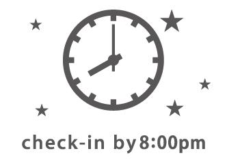 イラスト:チェックインは8時まで
