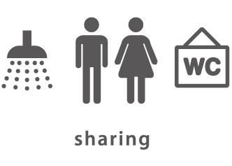 イラスト:浴室とトイレは共同です