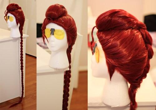 Crimson Viper wig and glasses